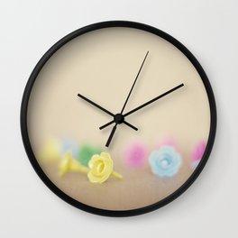Plastic Flowers Wall Clock