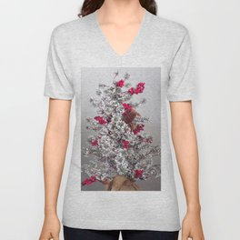 Beautiful Holiday Tree, Frosted Tree With Red Berries and Pine Cones Unisex V-Neck