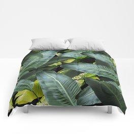 Topical palm leaf, banana leaf, black background, greens, Beach Hawaii decor Comforters