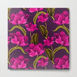 Bold & Bright Hot Pink Colored Parrot Tulip Flowers on Dark Background Metal Print