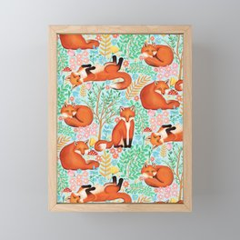 Little Foxes in a Fantasy Forest on Blue Framed Mini Art Print