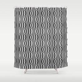 Black & White Wavy Pattern Shower Curtain