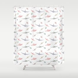 Colorful Plane Sketches Shower Curtain