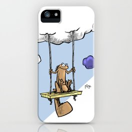 Squirrel swinging on a cloud iPhone Case