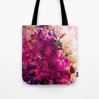 climbing Tote Bags featuring climbing  roses by clemm