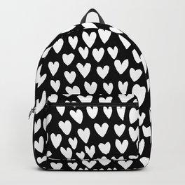Linocut printmaking hearts pattern minimalist black and white heart gifts Backpack