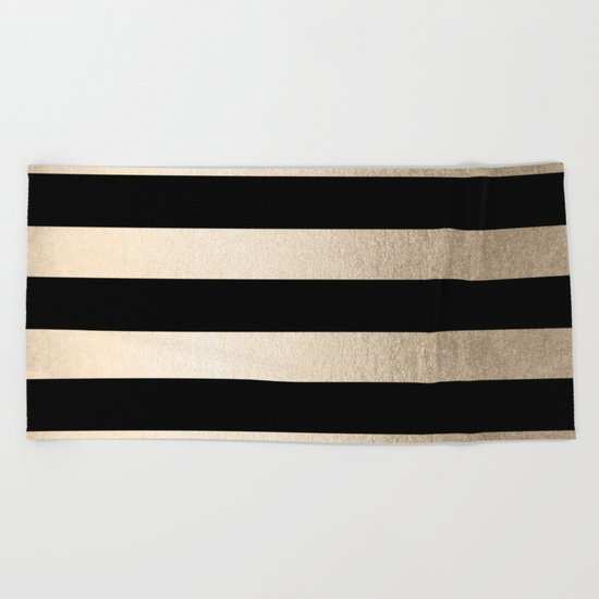 Simply Striped White Gold Sands on Midnight Black Beach Towel