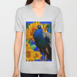 #2 BLUE PEACOCK &  SUNFLOWERS BLUE MODERN ART Unisex V-Neck