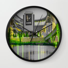 Baylor McLane Football Stadium Green Print Wall Clock
