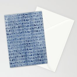 Blue Ancient Egyptian Hieroglyphs Stationery Cards