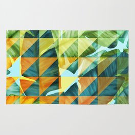 Abstract Geometric Tropical Banana Leaves Pattern Rug