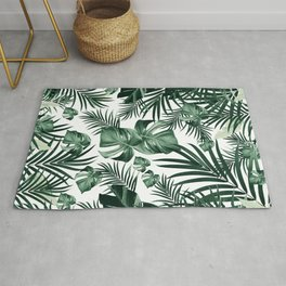 Tropical Jungle Leaves Pattern #4 (2020 Edition) #tropical #decor #art #society6 Rug