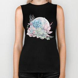 Beautiful Succulents Full Moon Teal Pink Biker Tank