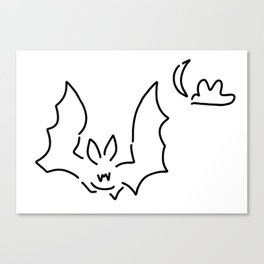 bat flughund at night moon Canvas Print