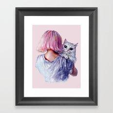 Pink Cuddles Framed Art Print