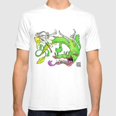 The Luck Dragon MEDIUM White Mens Fitted Tee
