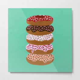 Stacked Donuts on Mint Metal Print