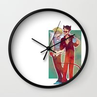 good omens Wall Clocks featuring Good Omens by Brizy Eckert