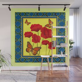 RED POPPIES ON CREAM ART TEAL DESIGN Wall Mural