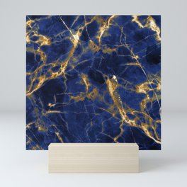 Blue Majestic Marble With 24-Karat Gold Hue Veins Mini Art Print