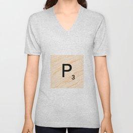 Scrabble Letter P - Large Scrabble Tiles Unisex V-Neck