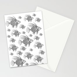 Grey fish - Linocut artwork Stationery Cards