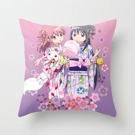 Madoka Kaname & Homura Akemi - Love Yukata edit. Throw Pillow