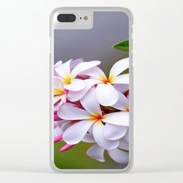 WHITE FRANGIPANI Clear iPhone Case