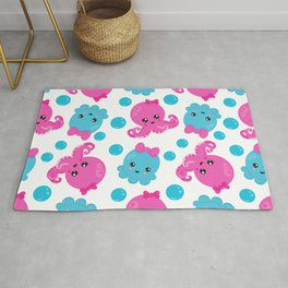 Octopus Pattern, Underwater Animals - Pink Blue Rug