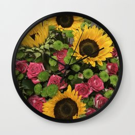 Sunflowers and Little Red Roses Wall Clock