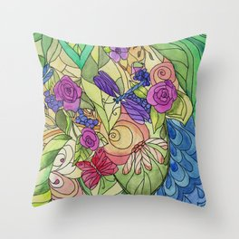 Stained Glass Garden Too Throw Pillow