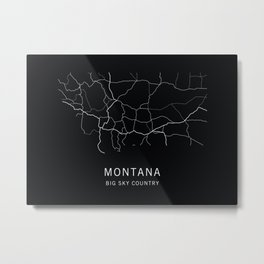 Montana State Road Map Metal Print