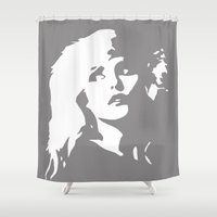 blondie Shower Curtains featuring Blondie portrait, grey, black, white, monochrome art by MONOFACES