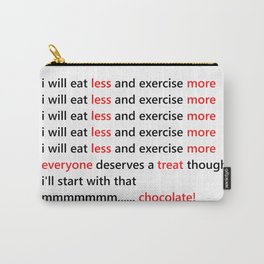 Diet & Exercise - Funny, black, white and red typography sloagn, quote, message, weight, healthy Carry-All Pouch