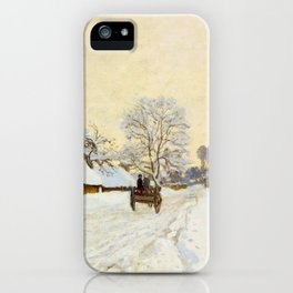 Claude Monet Impressionist Landscape Oil Painting A Cart on the Snowy Road at Honfleur iPhone Case