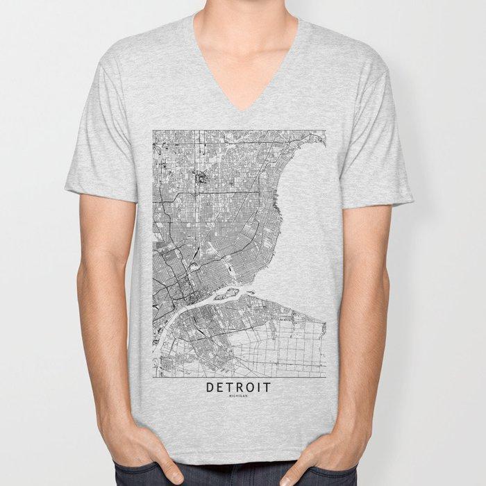 Detroit White Map Unisex V-Neck