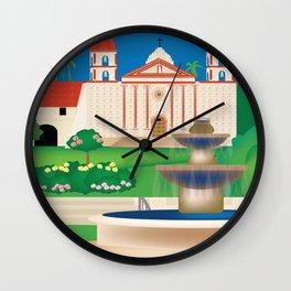 Santa Barbara, California - Skyline Illustration by Loose Petals Wall Clock