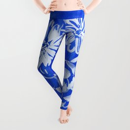 blue and white: flowers N.o 1 Leggings