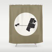 2001 Shower Curtains featuring 2001 Mars Odyssey by Ariel Waldman