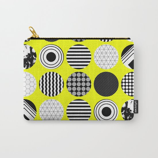 Eclectic Geometric - Black, white and yellow Carry-All Pouch