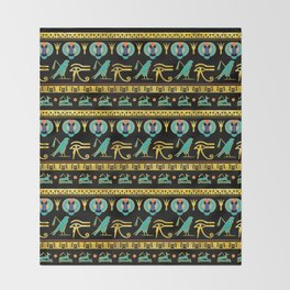 Egyptian  Ornament Symbols Pattern Throw Blanket