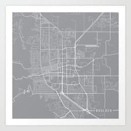 Boulder Map, Colorado USA - Pewter Art Print