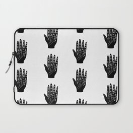 Linocut Hand palm reading minimal black and white palmistry fortune teller Laptop Sleeve