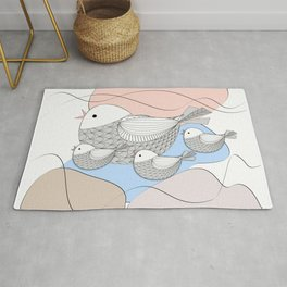 Graphic bird with chicks Rug