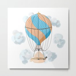 The dreamer: floating away on a vintage hot air balloon Metal Print