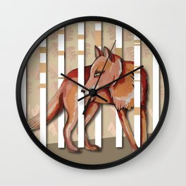 Lonely Fox In The Mountain High Wall Clock