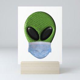 Alien Wearing a Face Mask Mini Art Print
