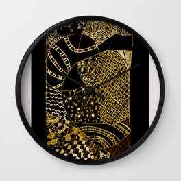 Web in Black & White & Gold Wall Clock