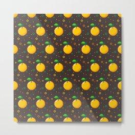 Pixel Oranges - Dark Metal Print