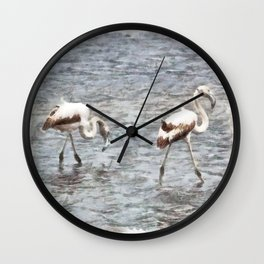 Be A Flamingo Watercolor Wall Clock
